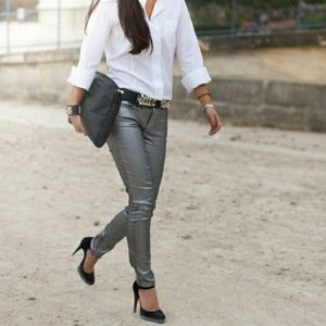 H&M Divided Vegan Leather Skinny Pants